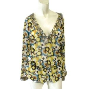 JB Julie Brown Teal Brown Floral Sequin Blouse 4